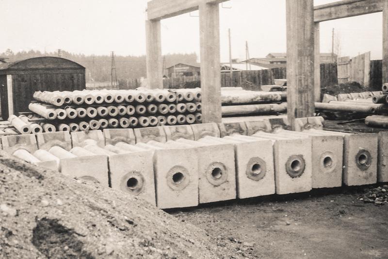 altes Foto von Schleuderbenmastfüssen für die Kelag