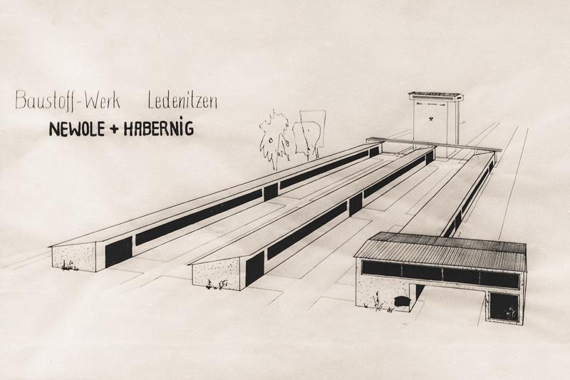 Skizze für das Baustoffwerk Ledenitzen Newolw + Habernig